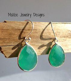 Green Onyx Gemstone teardrop earrings. Sterling silver bezel frame and ear wire. Fine Jewelry. McKee Jewelry Designs