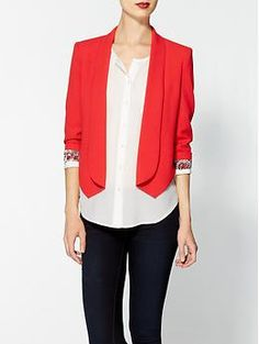 We love this with a white blouse! #CareerWear Aryn K. Tuxedo Blazer   Piperlime