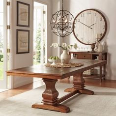 TRIBECCA HOME McKay Country Antique White Pedestal Extending Dining Table | Overstock.com Shopping - The Best Deals on Dining Tables