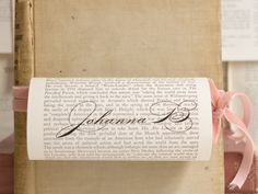 Book Theme Wedding - place holders for seating - page from book with name printed on it