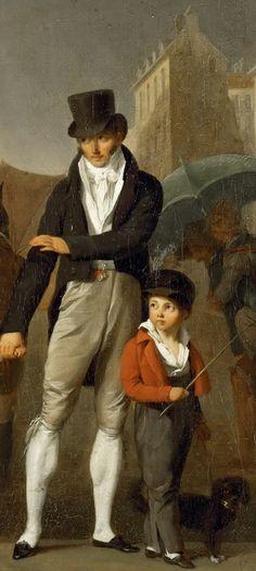 Louis-Léopold Boilly - The Downpour [c.1805] - detail