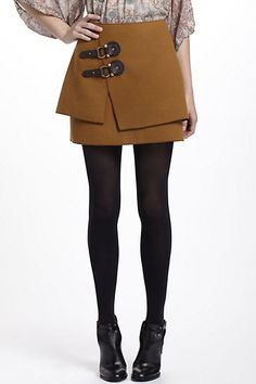 Buckled Felt Skirt #anthropologie