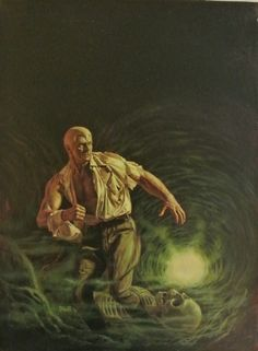TUNNEL TERROR Doc Savage painting by Bob Larkin Comic Art