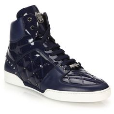 Versace Quilted Patent Leather High-Top Sneakers : Versace Shoes ($915) ❤ liked on Polyvore featuring men's fashion, men's shoes, men's sneakers, men wear, apparel & accessories, mens high tops, mens patent leather sneakers, mens hi top sneakers, mens hi tops and mens patent shoes