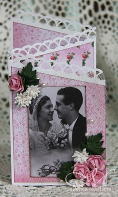 handmade anniversary card ... feature a photo from wedding day ... cascade fold ... punched edging ... dimensional flowers ... lovely card ...