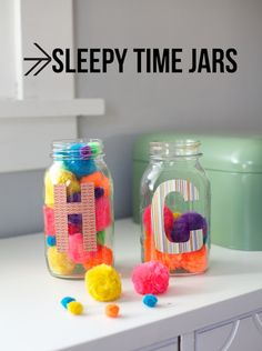 "Sleepy Time Jars- Put a pom pom into the jar every time they take a good nap or go to bed without complaining or getting up. When the jar is full they get a ""prize"" or treat of their choice."