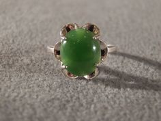 Vintage Sterling Silver Large Oval Multi Prong Set Green Jade Fancy Art Deco Style Band Ring, Size 9        **RL