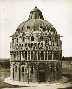 Enrico van Lint - Baptistry, Pisa, 1865 Catania, Siena, Palermo, Verona, Vintage Italy, Taj Mahal, Van, Architecture, Building