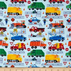 Timeless Treasures Traffic Jam Trucks Sky from @fabricdotcom  Designed for Timeless Treasures, this cotton print fabric is perfect for quilting, apparel and home decor accents. Colors include fire engine red, yellow, orange and shades of blue, green and grey.