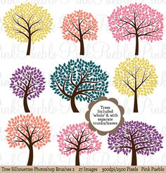 Tree Silhouettes Photoshop Brushes 2, Tree Photoshop Brushes - Commercial and Personal Use