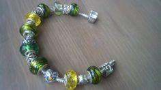Bracciale Snake in Argento Acciaio Donna con Perle Beads Bead in Vetro a foro largo tipo Pandora