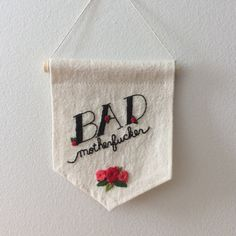 Badass Embroidered Banner Mature Hipster Wall Art by refashioned