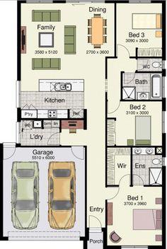 Plano para terreno de 10 × 20 y 3 dormitorios