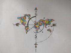 Monde, rose des vents, dessin, couleur