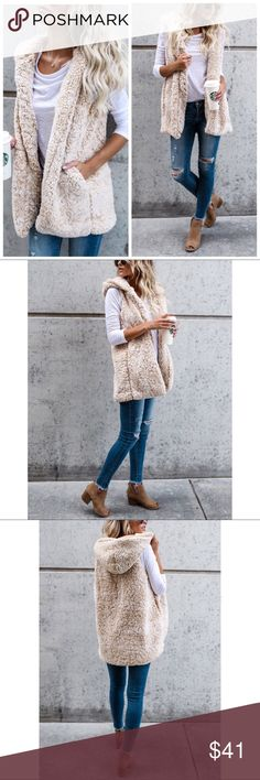 Beige Sherpa Oversized Hooded Vest S M L Beige Sherpa Oversized Hooded Vest, side pockets, Available in size small, medium, or large.  ARRIVING FRIDAY/ SHIPPING SATURDAY OF NEXT WEEK!  No trades, price firm unless bundled.  BUNDLE 3 OR MORE ITEMS FOR 15% OFF!! Couture Gypsy Jackets & Coats Vests