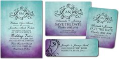 Rustic Teal Purple Bohemian Wedding Invitations
