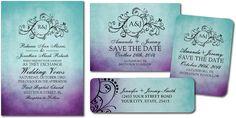 Rustic Teal Purple Bohemian Wedding Invitations