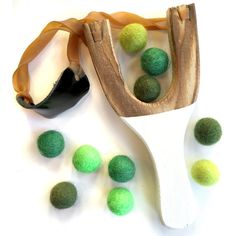 Wooden Slingshot toy with 10 colorful wool felt balls ammo, hand painted handles, St. Patrick's Day mix, unisex toys, green gift for kids