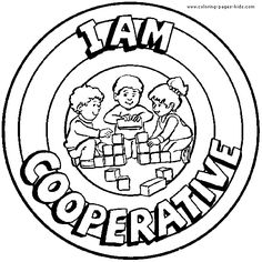 I Am Cooperative - Coloring Book Page