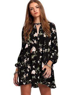 d6714a8d0a Milumia Women s Bohemian Long Sleeve Floral Print Short Mini Tunic Dress  Black L Vintage Dresses
