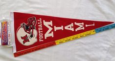 "NOS Wool Felt MIAMI Football Pennant Banner Flag 30"" Made in USA NCAA #CollegiatePacific #Miami"