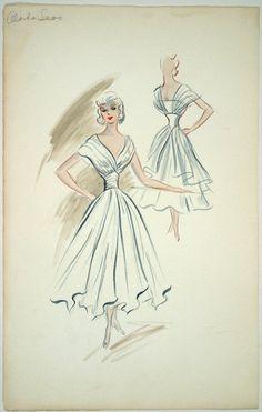 Costume sketch of Edith Head design for Jan Sterling in ALASKA SEAS (1954 Paramount).