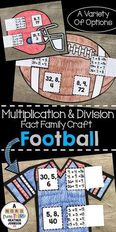 Football Season Fact Families: Multiplication and Division Teaching Math, Teaching Ideas, Learning Resources, Math Made Easy, Math Fact Practice, Fourth Grade, Third Grade, Math Strategies, Fact Families