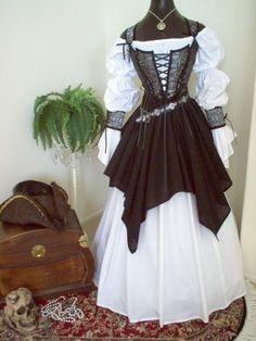 Gray Black Skulls Pirate Wedding Renaissance Steampunk Costume