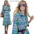 Vtg 70s PEGGY BARKER Preppy Plaid MADRAS NAUTICAL Shirt Bracelet Length Dress