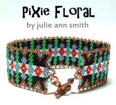 PIXIE FLORAL BEADED BRACELET PATTERN by Julie Ann Smith Designs at Bead-Patterns.com