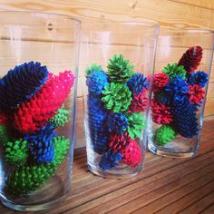 Coloured pine cones. Winter or fall lovely  DIY decoration