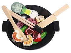 Imagetoys Spiel-Wok Teller mit Essen Krabben Champignons und Besteck Stäbchen aus Holz für die Kinder Spiel-Küche