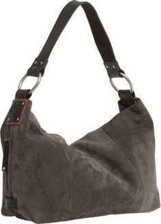04af61403a4c Ellington Sadie Gray Suede Black Leather Shoulder Bag 3658 Purse Hobo New
