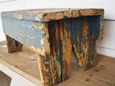 Primitive Little Old Wooden Stool, Bench, In Dark Blue Over Teal Paint