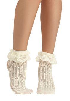 Dancing on Flair Socks - Solid, Knitted, Ruffles, Good, Sheer, Cream, Fairytale, Variation, Best Seller