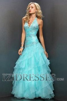 A-line Halter Organza Prom Dress - IZIDRESSES.COM