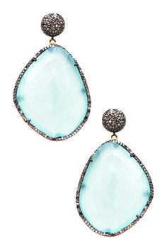 Pave Diamond Freeform Chalcedony Drop Earrings - BEAUTIFUL