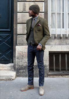 Army Green Wool Blazer, Navy Gingham Button Down, Wool Vest, Knit Tie, Slim Dark Wash Jeans, Light Chukka Boots.