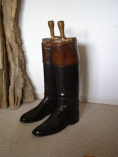 LOVELY OLD ANTIQUE VINTAGE LEATHER PAIR RIDING BOOTS & BRASS TREES Gosling Esq