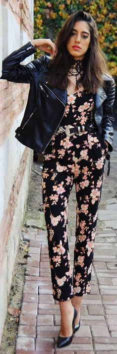 Black Multi Floral Jumpsuit #Fashionistas leather and floral