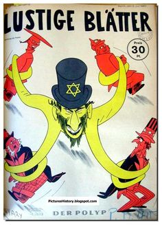 """Lustige Blätter. """"The polyp."""" The message is clear: the Jews controlled the Allied Forces."""