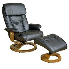 Mac Motion 819 Series Leather Ergonomic Recliner and Ottoman