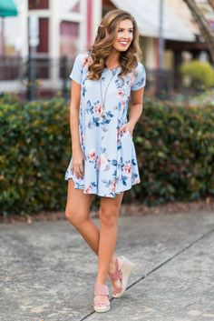 """Make A Move Dress, Light Blue""We can't get over how SOFT this dress is! We can't even describe it accurately! It's just something that you are going to have to feel for yourself! #newarrivals #shopthemint"