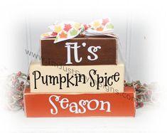 It's Pumpkin Spice Season Itty Bitty Wood Blocks Fall Wood Crafts, Wood Block Crafts, Wood Craft Patterns, Wooden Crafts, Thanksgiving Crafts, Wood Blocks, Holiday Crafts, Jenga Blocks, Glass Blocks