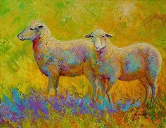 Warm Glow - Sheep Pair by Marion Rose Acrylic ~ 14 x 18