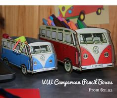Classic Volkswagen Campervans could be sitting on your desk organizing your stuff and keepin' you in your hippie dreams!
