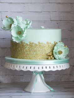 Wedding cake in tiffany by Vanilla & Me - http://cakesdecor.com/cakes/290992-wedding-cake-in-tiffany #laceweddingcakes