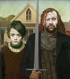 Creative Artwork, Cool Artwork, Grant Wood, Gothic Games, American Gothic Parody, Fantasy Shows, Game Of Thrones Arya, Ned Stark, Kings Game