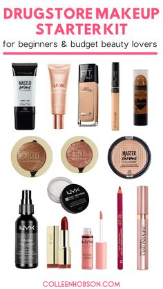 The best drugstore makeup products you need to get an affordable makeup starter kit going. #drugstore #affordable #makeup #products