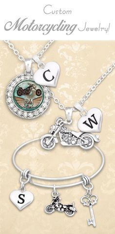 Motocycling jewelry with custom initials! - $9.98 // Ride with pride!